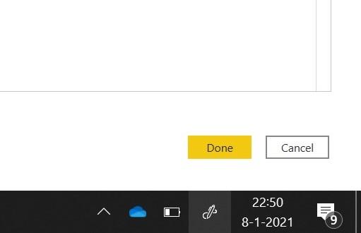 #039;Last Refresh#039; in Microsoft Power BI: klik op #039;Done#039;