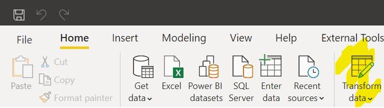 Power BI Transform Data
